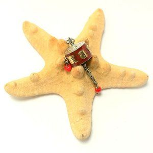 Jewelry - Tiny Tibetan Om Mane Prayer Wheel Pendant